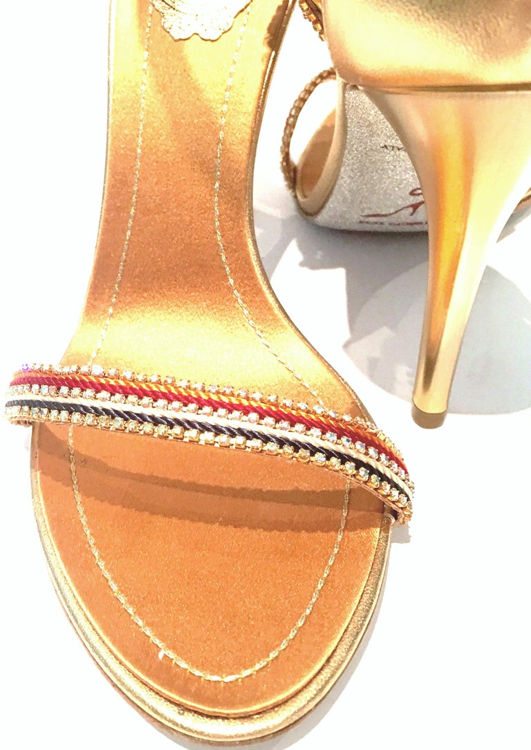 21st Century New Rene Caovilla Metallic Embellished Ankle Wrap Sandals  For Sale 2