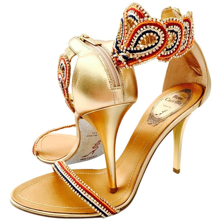 21st Century New Rene Caovilla Metallic Embellished Ankle Wrap Sandals  For Sale
