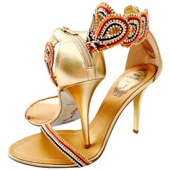 21st Century New Rene Caovilla Metallic Embellished Ankle Wrap Sandals