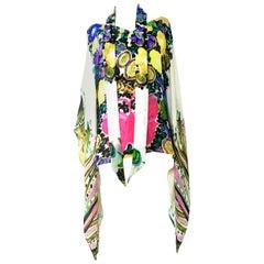 """21st Century & New Roberto Cavalli Silk """"Butterfly"""" Blouse Size- 38"""
