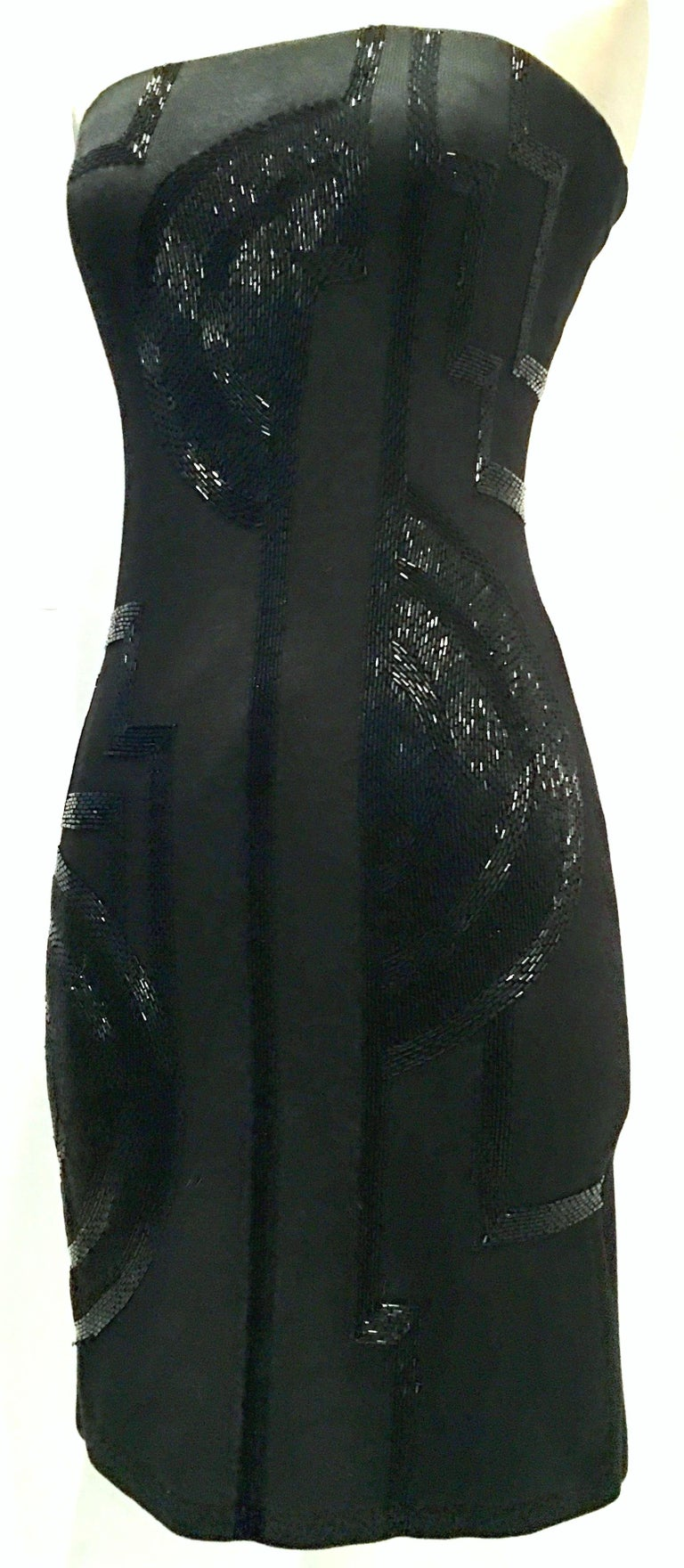 Black 21st Century & New Silk Knit Beaded Strapless Cocktail Dress By, Ralph Lauren