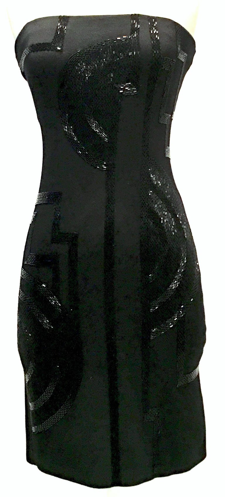 21st Century & New Art Deco style black silk-knit strapless crystal beaded