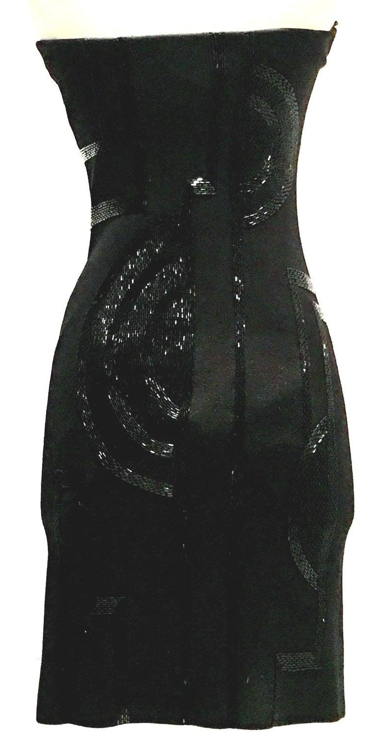 21st Century & New Silk Knit Beaded Strapless Cocktail Dress By, Ralph Lauren 2