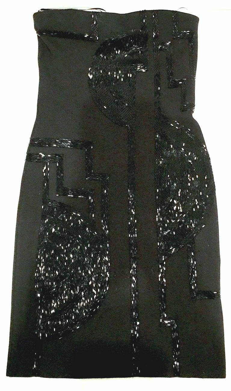 21st Century & New Silk Knit Beaded Strapless Cocktail Dress By, Ralph Lauren 3