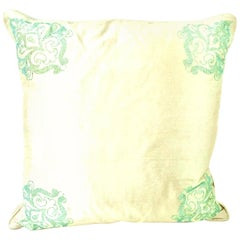 21st Century and New Silk Paisley Crystal Adorned Down Filled Pillow by, Sivaana