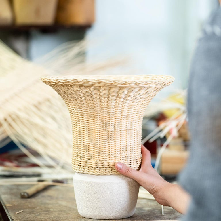 Arts and Crafts 21st Century Nodo Woven Wicker and Ceramic Vase, by Bottega Intreccio For Sale