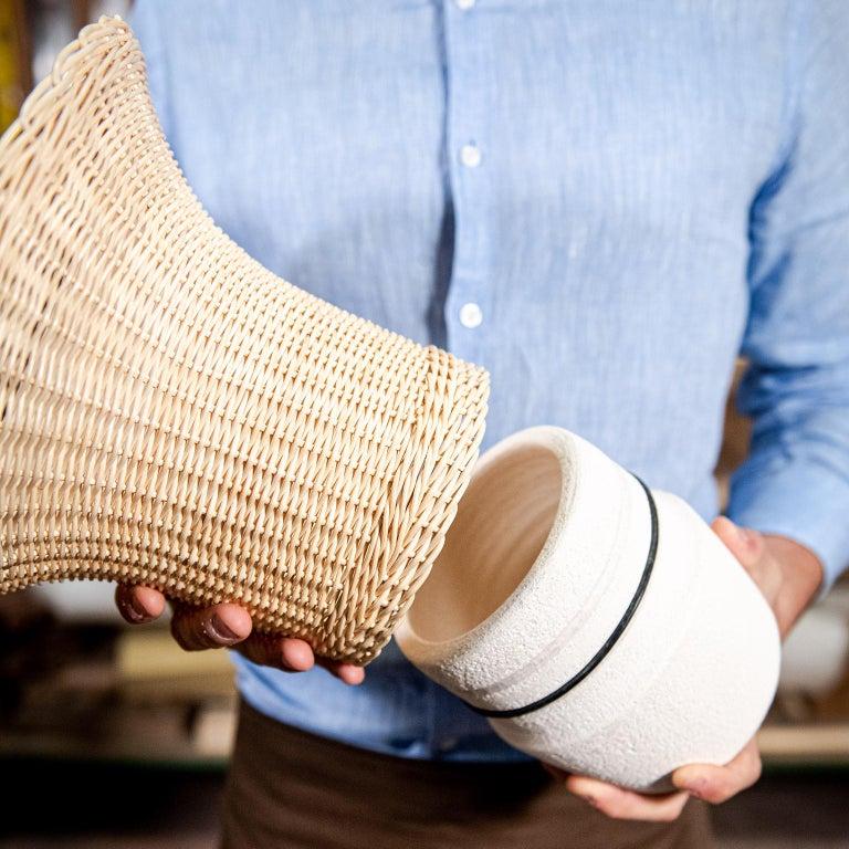 Italian 21st Century Nodo Woven Wicker and Ceramic Vase, by Bottega Intreccio For Sale