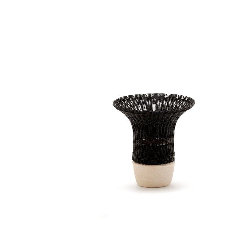 Hand-Crafted 21st Century Nodo Woven Wicker and Ceramic Vase, by Bottega Intreccio For Sale