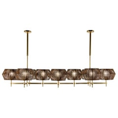 21st Century Novecento Brass and Eco Leather Chandelier by Roberto Lazzeroni