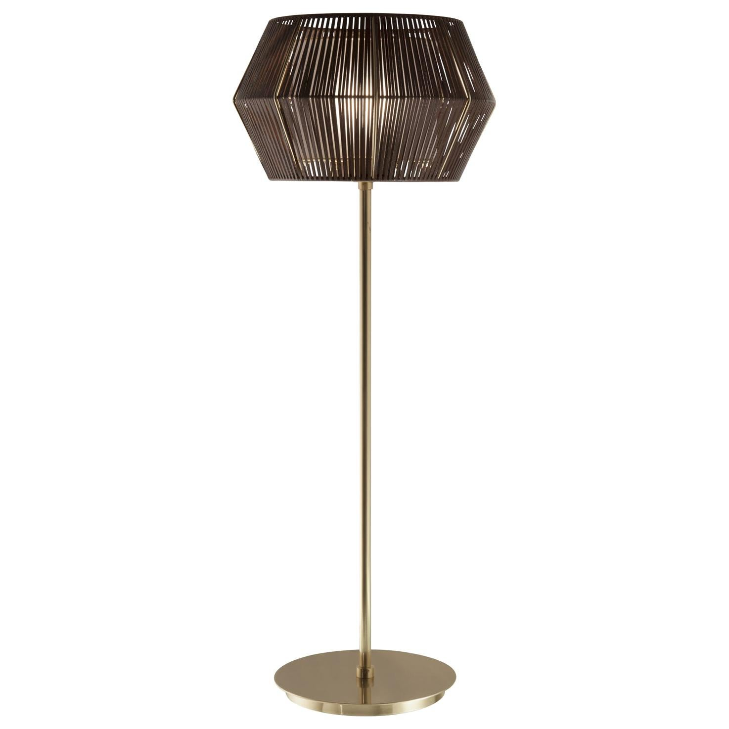 21st Century Novecento Brass and Eco Leather Table Lamp by Roberto Lazzeroni