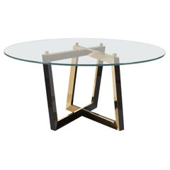 21st Century Olisippo 6-Seat Round Dining Table Glass Top Beech Brass