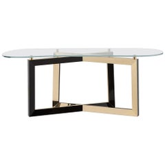21st Century Olisippo Console Tempered Glass Top Black Beech Polished Brass