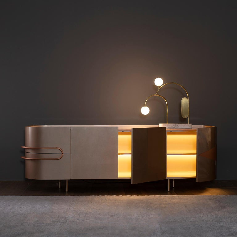 21st Century Olival Sideboard Pink Onyx Rose Gold Lacquering Brushed Copper For Sale 5