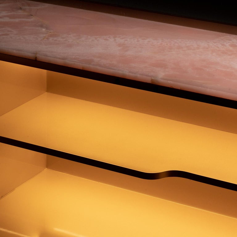 21st Century Olival Sideboard Pink Onyx Rose Gold Lacquering Brushed Copper For Sale 7
