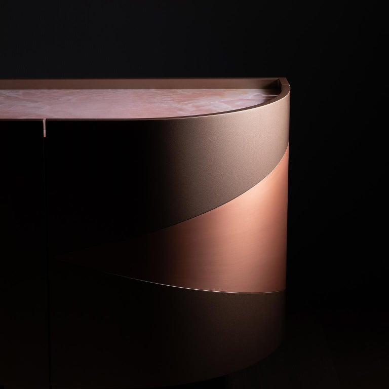 21st Century Olival Sideboard Pink Onyx Rose Gold Lacquering Brushed Copper For Sale 9