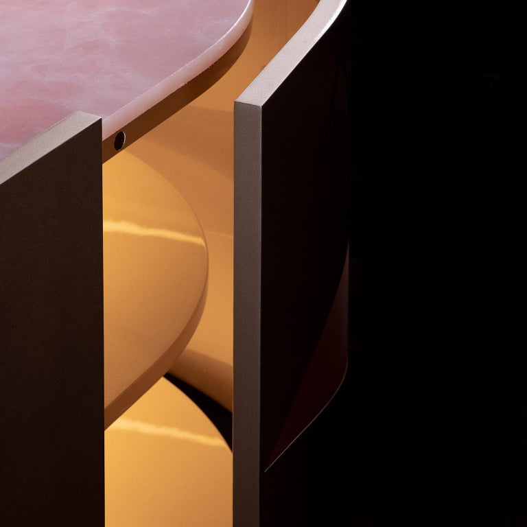 21st Century Olival Sideboard Pink Onyx Rose Gold Lacquering Brushed Copper For Sale 11