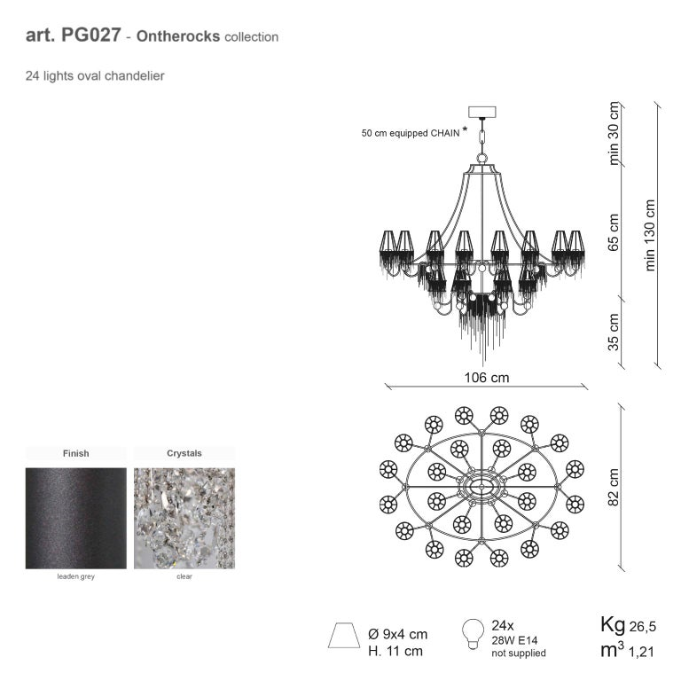 Contemporary 21st Century on the Rocks 24 Lights Crystal Chandelier by Patrizia Garganti For Sale