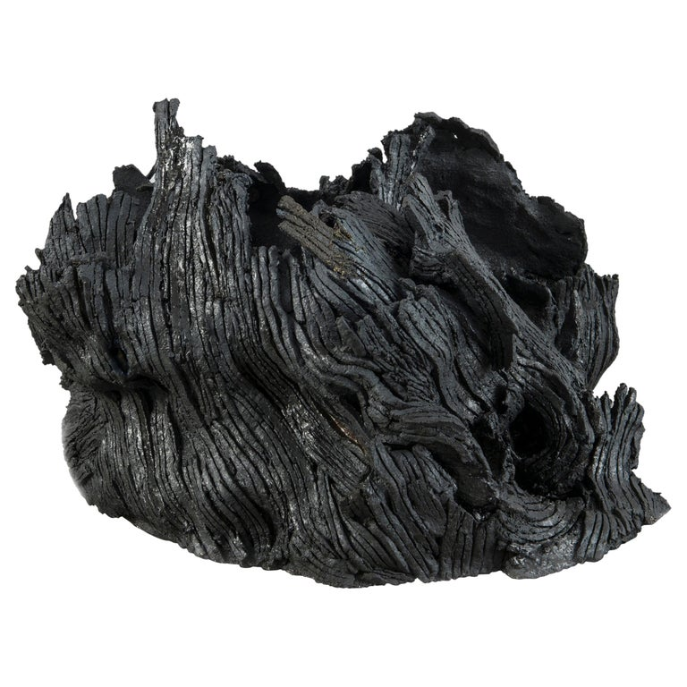 "21st Century Organic Sculpture ""SOUCHE #7"" by Nathalie Campion Black Ceramic For Sale"