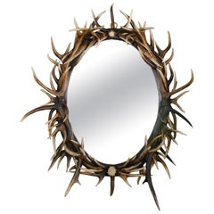 21st Century Ornate Oval Antler Mirror