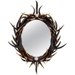 21st Century Ornate Oval Dark Antler Horn Mirror