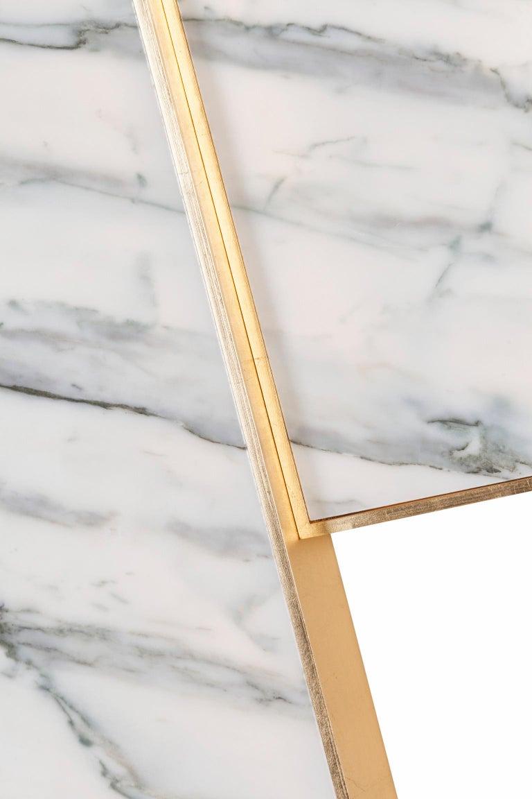 Modern Orpheu Decorative Wall Art Piece Gold Leaf Gilding Calacatta Lake Sunrise Marble For Sale