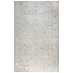 21st Century Oushak Design Blue, Gray, Green & Purple Hand Knotted Wool Rug