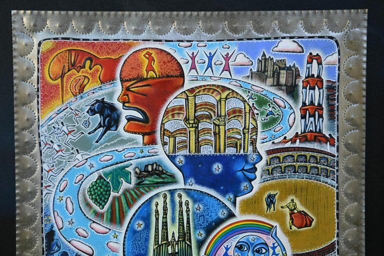Folk Art 21st Century Outsider Art Painting on Tin For Sale