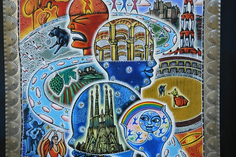 North American 21st Century Outsider Art Painting on Tin For Sale