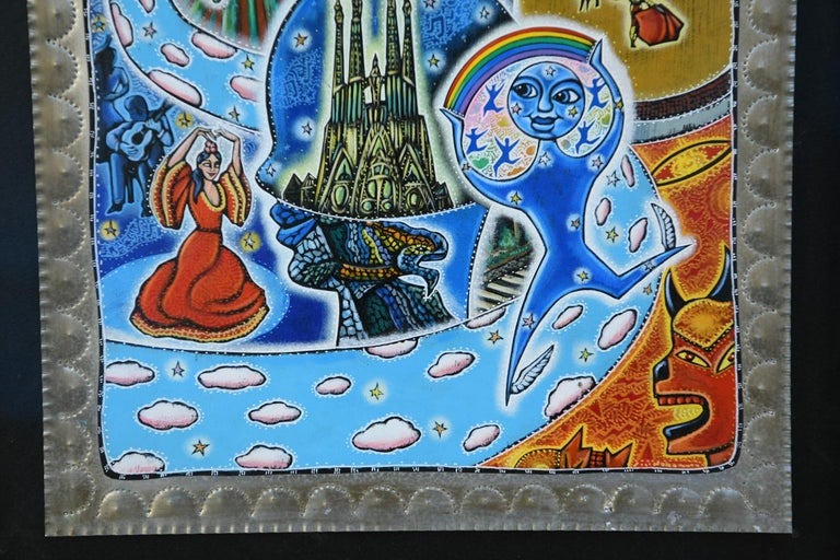 Painted 21st Century Outsider Art Painting on Tin For Sale