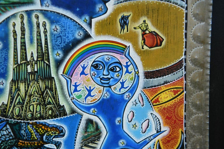 Contemporary 21st Century Outsider Art Painting on Tin For Sale