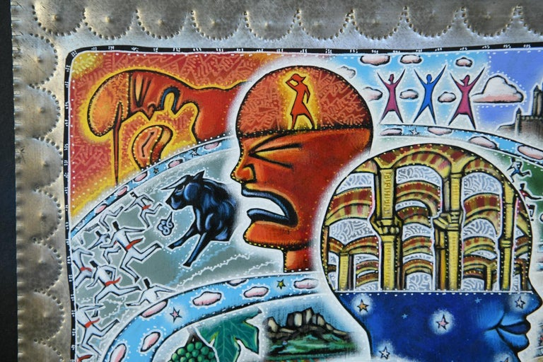 Acrylic 21st Century Outsider Art Painting on Tin For Sale
