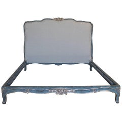 21st Century Painted and Silvered French Louis XV Style California King Bed
