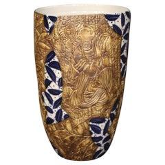 21st Century Painted Glazed and Chiselled Ceramic Chinese Vase, 2000