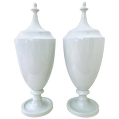 21st Century, Pair of Ceramic Glaze Lidded Floor Urns