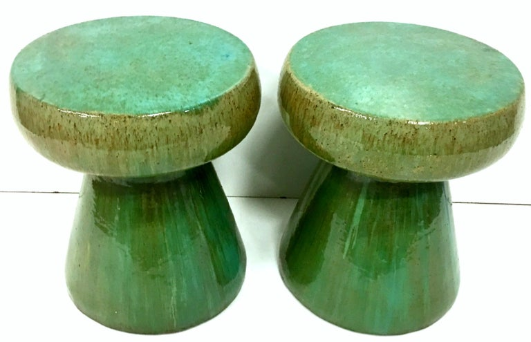 Glazed 21st Century Pair of Ceramic Glaze Mushroom Form Garden Stool's For Sale
