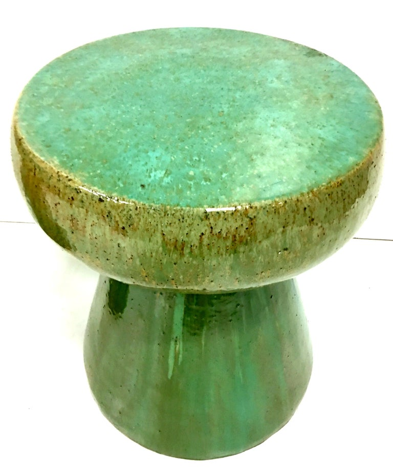 21st Century Pair of Ceramic Glaze Mushroom Form Garden Stool's For Sale 2