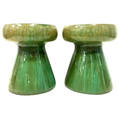 21st Century Pair of Ceramic Glaze Mushroom Form Garden Stool's