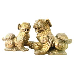 21st Century Pair Of Contemporary Gold Ceramic Glaze Foo Dog Sculptures