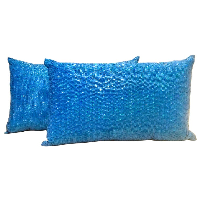 21st Century Pair of Electric Blue Crystal & Silk Rectangular Pillows For Sale