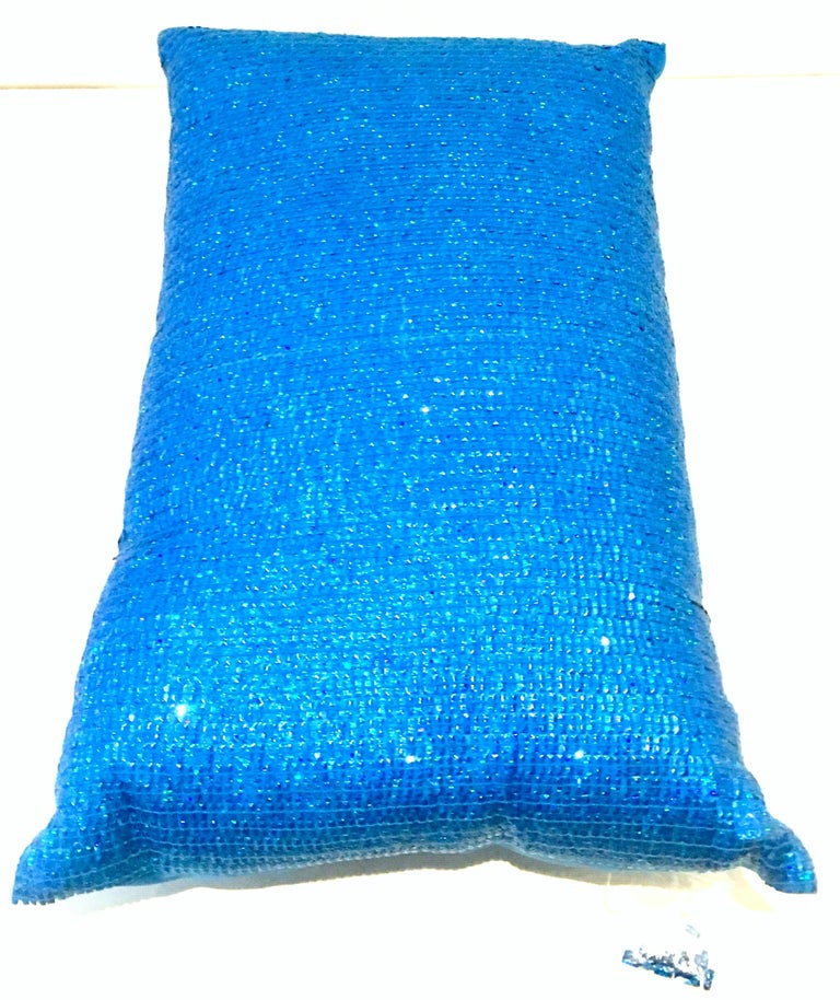21st Century Pair of Electric Blue Crystal & Silk Rectangular Pillows For Sale 1