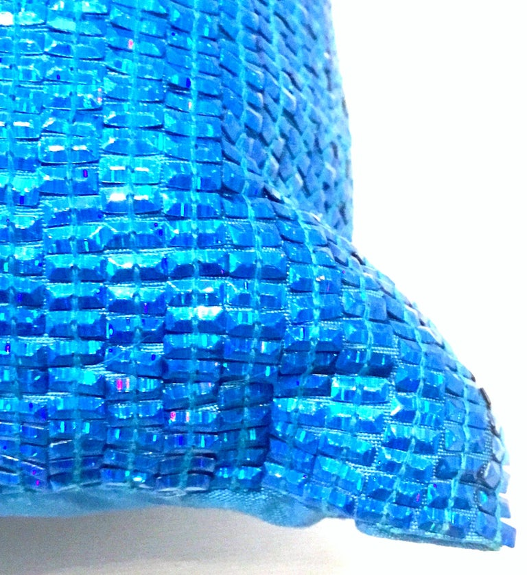 21st Century Pair of Electric Blue Crystal & Silk Rectangular Pillows For Sale 4