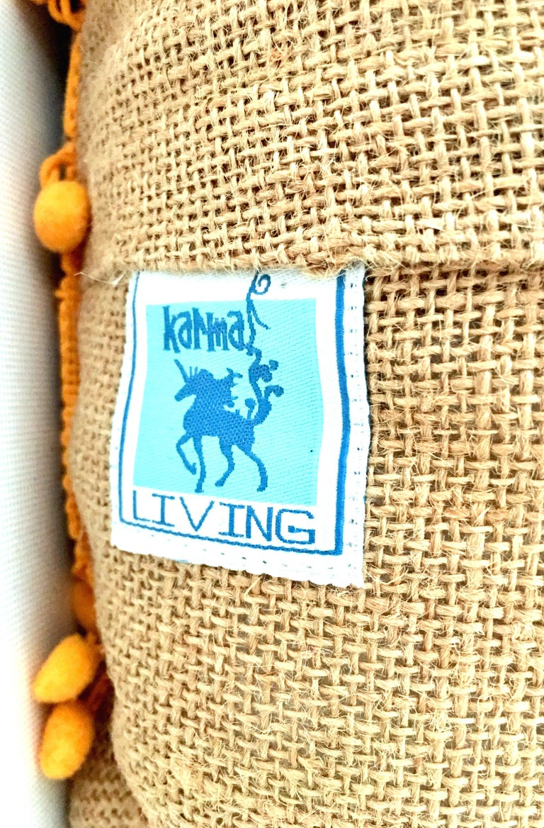 21st Century Pair of Jute Embroidered Pillows by, Karma Living For Sale 9