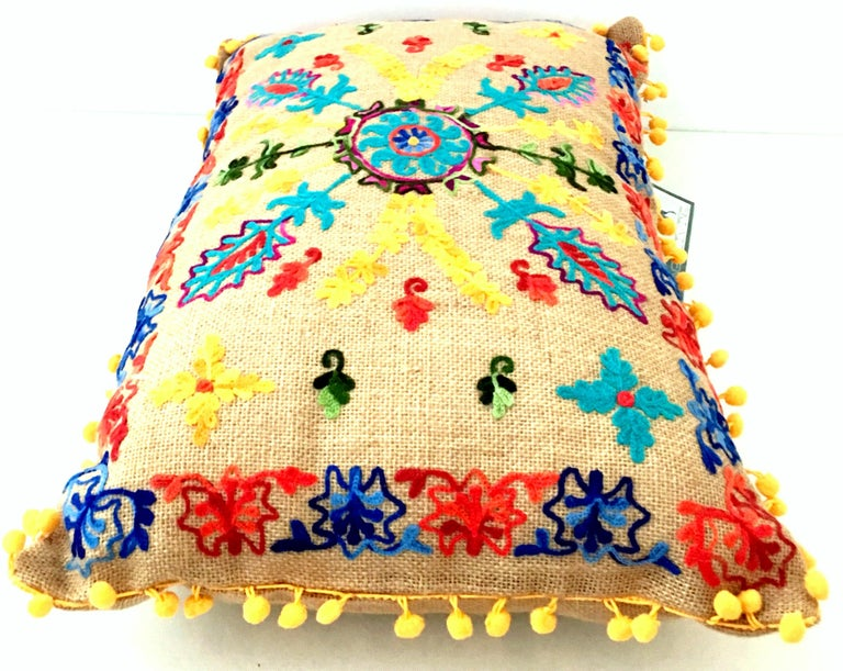 Contemporary 21st Century Pair of Jute Embroidered Pillows by, Karma Living For Sale