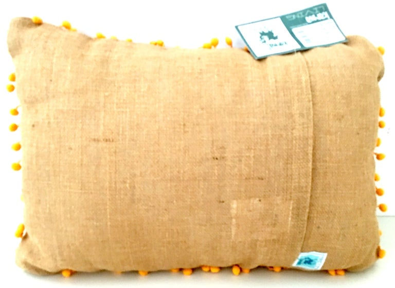 21st Century Pair of Jute Embroidered Pillows by, Karma Living For Sale 2