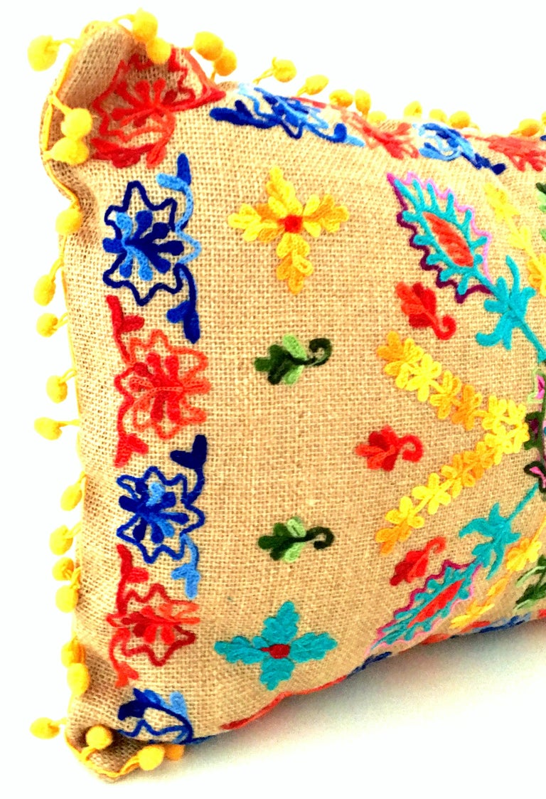 21st Century Pair of Jute Embroidered Pillows by, Karma Living For Sale 3