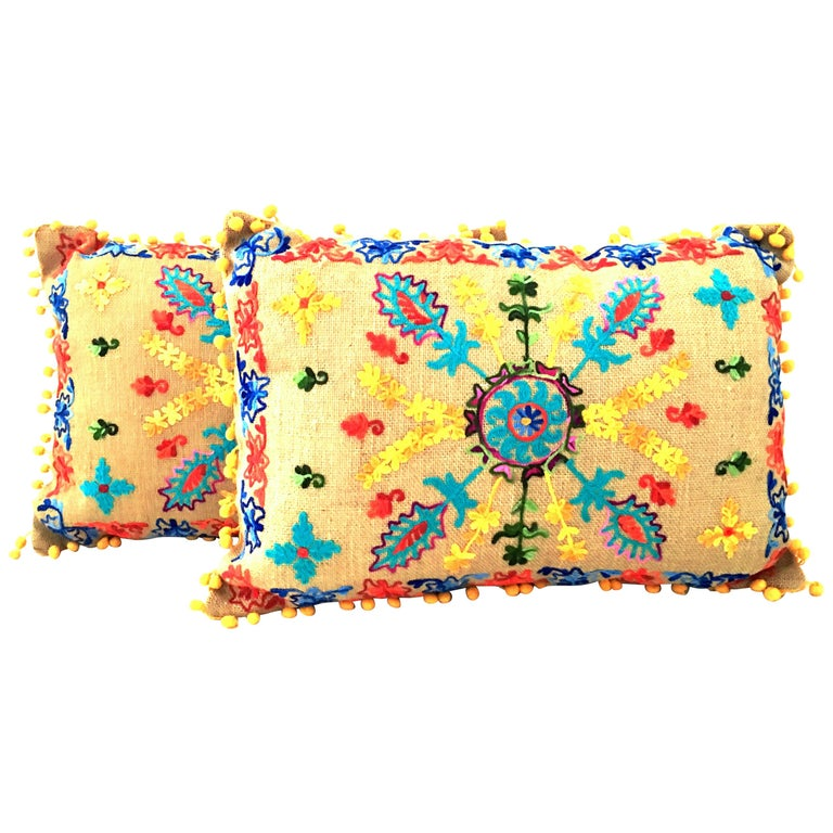 21st Century Pair of Jute Embroidered Pillows by, Karma Living For Sale