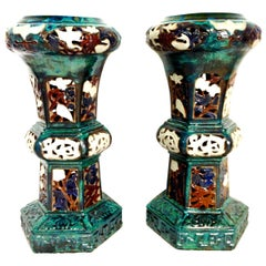 21st Century Pair of Monumental Ceramic Glaze Chinese Export Garden Plant Stands