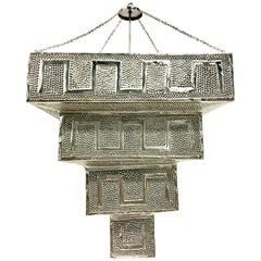 21st Century Pair of Monumental Silver Steel Moroccan Style Pendant Light
