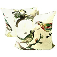 "21st Century Pair of New Printed Belgium Linen 'Aviary"" Down Filled Pillows S/2"
