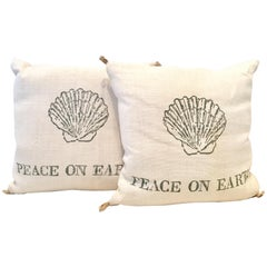 "21st Century Pair of ""Peace on Earth"" Printed Raffia Down Filled Pillow's"